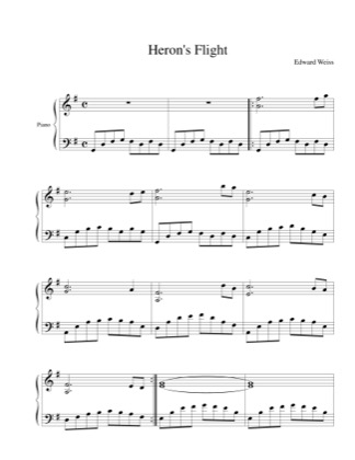 Thumbnail of first page of Heron's Flight piano sheet music PDF by Edward Weiss.
