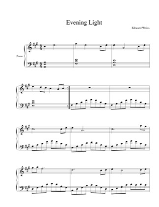 Thumbnail of first page of Evening Light piano sheet music PDF by Edward Weiss.