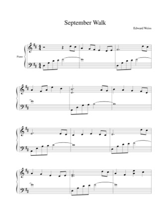 Thumbnail of first page of September Walk piano sheet music PDF by Edward Weiss.