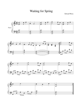 Thumbnail of first page of Waiting for Spring piano sheet music PDF by Edward Weiss.