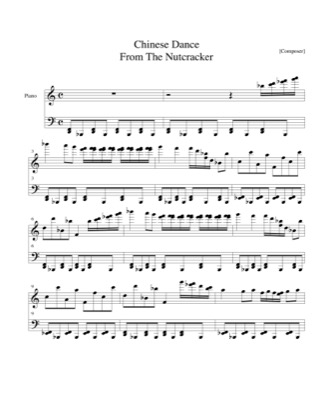 Preview of First Page of Chinese Dance (from Nutcracker) sheet music by Christmas