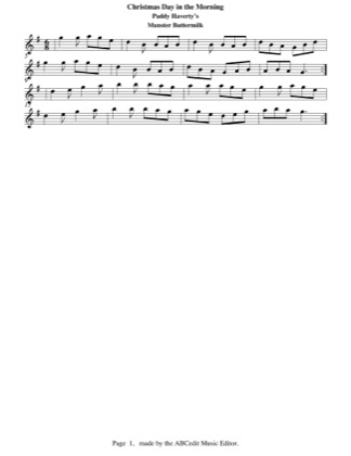 Thumbnail of first page of Christmas Day in the Morning piano sheet music PDF by Paddy Haverty.