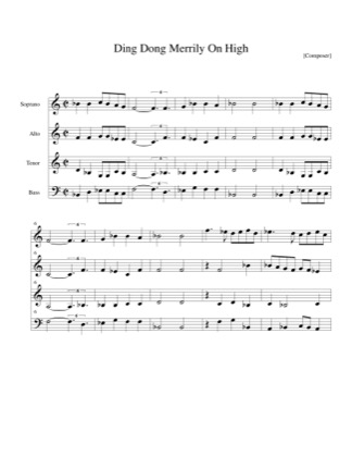 Thumbnail of first page of Ding Dong Merrily On High piano sheet music PDF by Christmas.