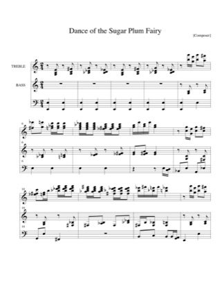 Thumbnail of first page of Dance of the Sugar Plum Fairy piano sheet music PDF by Christmas.