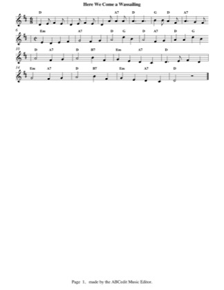 Thumbnail of first page of Here We Come a Wassailing piano sheet music PDF by Christmas.