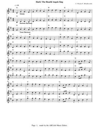 Thumbnail of first page of Hark! The Herald Angels Sing piano sheet music PDF by Christmas.