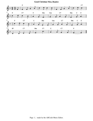 Thumbnail of first page of Good Christian Men, Rejoice piano sheet music PDF by Christmas.