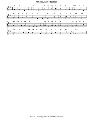 Thumbnail of first page of O Come, All Ye Faithful (easy) piano sheet music PDF by Christmas.