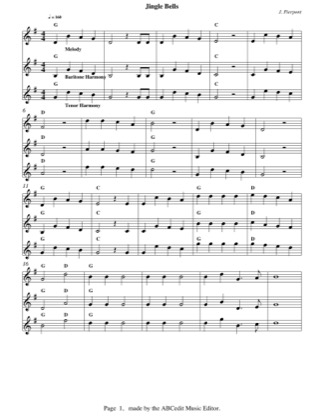 Preview of First Page of Jingle Bells sheet music by Christmas