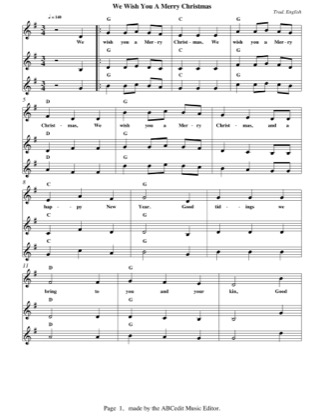 Print and download for free: We Wish You A Merry Christmas piano sheet music by Christmas.