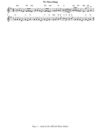 Thumbnail of first page of We Three Kings (easy) piano sheet music PDF by Christmas.