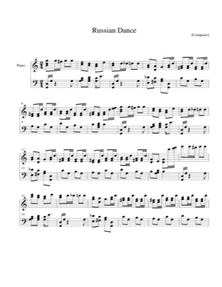 Thumbnail of first page of Russian Dance piano sheet music PDF by Christmas.