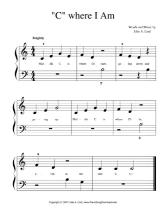 """Thumbnail of first page of """"C"""" Where I Am (easy) piano sheet music PDF by Julie Lind."""