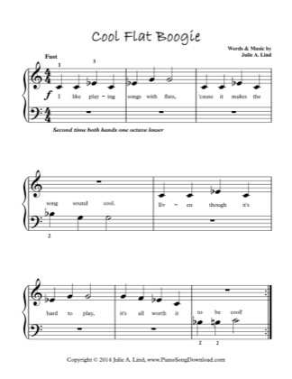 Thumbnail of first page of Cool Flat Boogie (Lvl 1) piano sheet music PDF by Julie Lind.