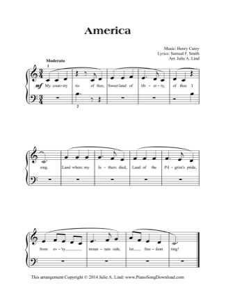 Thumbnail of first page of America (easy) piano sheet music PDF by Traditional.