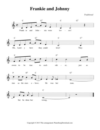 Thumbnail of first page of Frankie and Johnny piano sheet music PDF by Traditional.