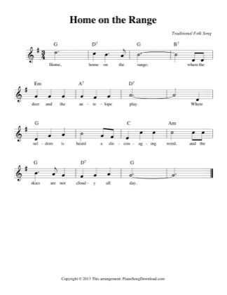 Thumbnail of first page of Home on the Range (easy) piano sheet music PDF by Traditional.
