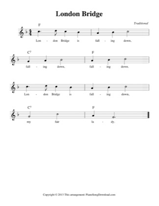 Thumbnail of first page of London Bridge piano sheet music PDF by Traditional.