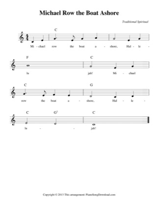 Thumbnail of first page of Michael Row the Boat Ashore (easy) piano sheet music PDF by Traditional.