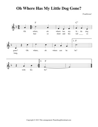 Thumbnail of first page of Oh Where Has My Little Dog Gone? (easy) piano sheet music PDF by Traditional.