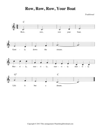 Thumbnail of first page of Row, Row, Row, Your Boat (easy) piano sheet music PDF by Traditional.