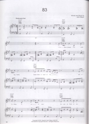 Thumbnail of first page of 83 piano sheet music PDF by John Mayer.