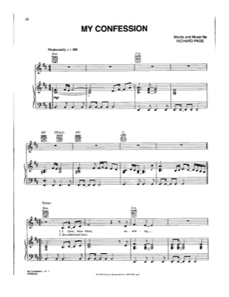 Thumbnail of first page of My Confession piano sheet music PDF by Josh Groban.