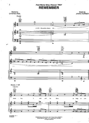 Thumbnail of first page of Remember piano sheet music PDF by Josh Groban.