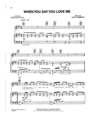 Thumbnail of first page of When You Say You Love Me piano sheet music PDF by Josh Groban.