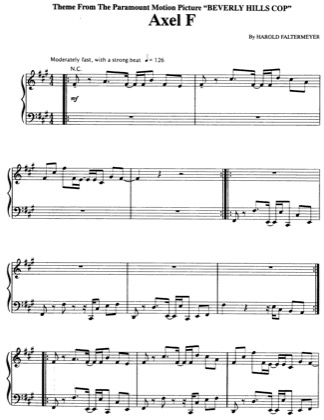Thumbnail of first page of Axel F piano sheet music PDF by Harold Faltermeyer.