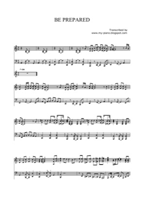 Thumbnail of first page of Be Prepared piano sheet music PDF by Elton John.