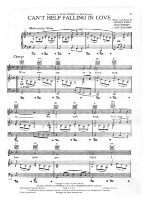 Thumbnail of first page of Can't Help Falling In Love piano sheet music PDF by Elvis Presley.