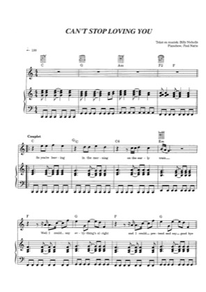 Thumbnail of first page of Can't Stop Loving You piano sheet music PDF by Phil Collins.