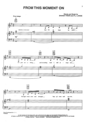 Thumbnail of first page of From This Moment On piano sheet music PDF by Shania Twain.