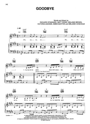 Thumbnail of first page of Goodbye piano sheet music PDF by Spice Girls.