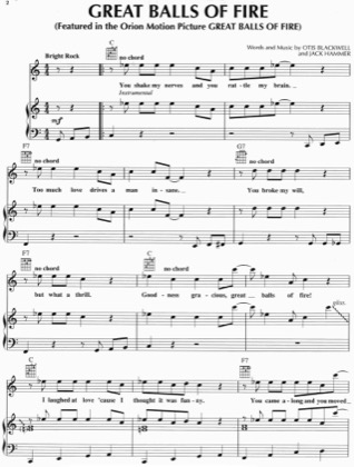 Thumbnail of first page of Great Balls Of Fire piano sheet music PDF by Jerry Lee Lewis.