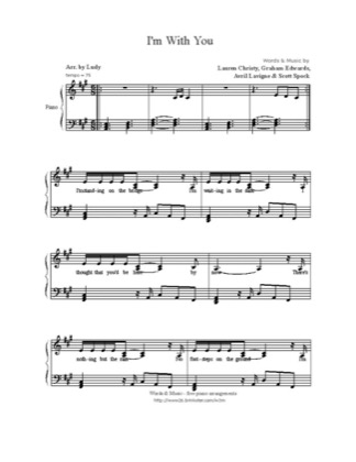 Thumbnail of first page of I'm With You piano sheet music PDF by Avril Lavigne.