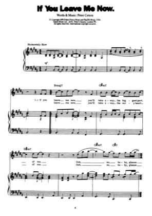 Thumbnail of first page of If You Leave Me Now piano sheet music PDF by Peter Cetera.